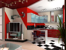 Modern interior of kitchen Royalty Free Stock Images