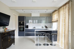 Modern interior.Kitchen Royalty Free Stock Photos
