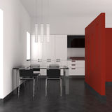Modern interior with kitchen and dining room. Modern kitchen and dining room with red wall Stock Photos