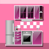Modern interior kitchen room in pink tones. Kitchen utensils and appliances in the background tiles. Flat isolated cartoon illustration vector illustration
