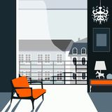 Modern interior with landscape royalty free stock image