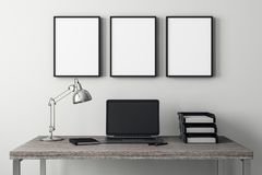 Modern interior with laptop and frame royalty free illustration