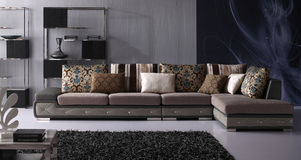 Modern interior layout. Modern living room furniture in blacks and gray Stock Images