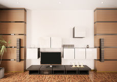 Modern interior with LCD 3d render Royalty Free Stock Photo