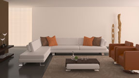 Modern interior of living-room. stock illustration