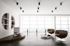 Modern interior of living room 3d Royalty Free Stock Photography