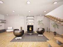 Modern interior of living room 3d render Stock Photo