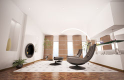 Modern interior of living room 3d render Royalty Free Stock Photography