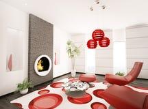 Modern interior of living room 3d render. Modern interior of living room with fireplace 3d render Stock Images