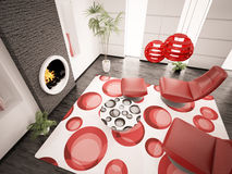 Modern interior of living room 3d render. Modern interior of living room with fireplace 3d render Royalty Free Stock Photos