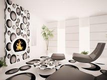 Modern interior of living room 3d render. Modern interior of living room with fireplace 3d render Stock Photo