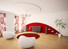 Modern interior of living room 3d render Stock Photos