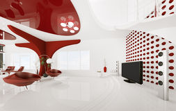 Modern interior of living room 3d render Royalty Free Stock Images
