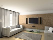 Modern interior of living-room Stock Photos