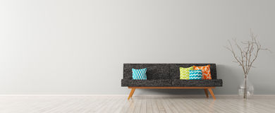 Modern interior of living room with black sofa 3d render Stock Image