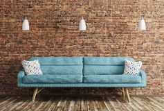 Interior of living room with sofa 3d rendering. Modern interior of living room with blue sofa and lamps over brick wall 3d rendering Stock Photography