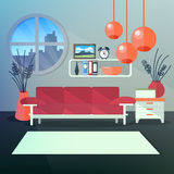 Modern Interior of Living Room with Book Shelves Stock Photo