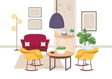 Modern interior of living room with comfy furniture and trendy home decorations - sofa, armchairs, carpet, coffee table vector illustration