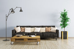 Modern interior of living room 3d render. Modern interior of living room with black sofa, floor lamp and coffee table 3d render. All images, photos, pictures Royalty Free Stock Photography