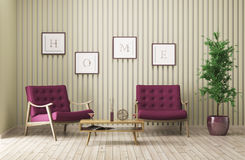 Modern interior of living room 3d render Stock Photography
