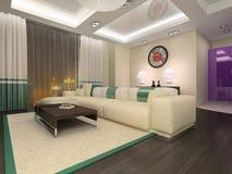 Modern interior of living room. 3d rendering stock illustration