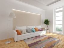 Modern interior of living room. 3d rendering royalty free illustration