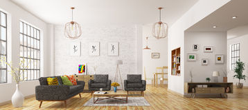 Modern interior of living room 3d rendering Stock Photos