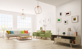 Modern interior of living room 3d rendering Stock Photos