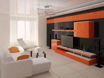 Modern interior of living room. Royalty Free Stock Photography