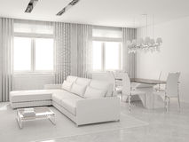 Modern interior of living-room and dining-room. Modern white interior of living-room and dining-room. 3D render Royalty Free Stock Images