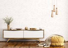 Modern interior of living room with dresser and ottoman 3d rende Royalty Free Stock Photo