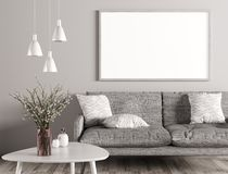 Interior of living room with sofa and mock up poster 3d rendering. Modern interior of living room with grey sofa, white coffee table and mock up poster on the royalty free illustration