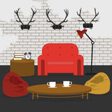 Modern Interior. Living Room in Grunge Style Royalty Free Stock Images