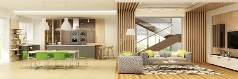 Modern interior of living room with the kitchen in a house or apartment in grey colors with green accents. 3d rendering stock illustration