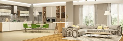 Modern interior of living room with the kitchen in a house or apartment in grey colors with green accents. 3d rendering royalty free stock image