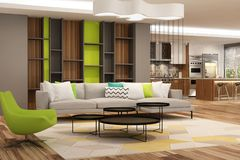 Modern interior of living room with the kitchen in a house or apartment in grey colors with green accents. 3d rendering royalty free illustration