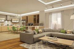 Modern interior of living room with the kitchen in a house or apartment in grey colors with green accents. 3d rendering vector illustration