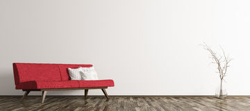 Modern interior of living room with red sofa 3d render Royalty Free Stock Photo