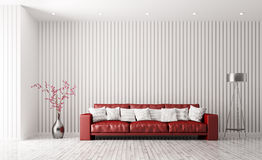 Modern interior of living room with red sofa 3d rendering Stock Photo