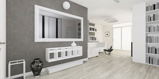 Modern interior of the living room rendering Stock Image