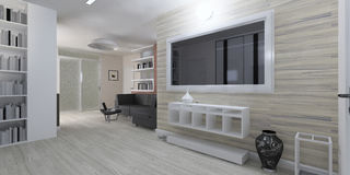 Modern interior of the living room rendering Stock Photo