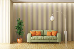 Modern interior of living room with sofa 3d render Royalty Free Stock Photography