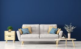 Modern interior of living room with sofa 3d rendering. Interior of living room with gray sofa, wooden coffee table with vase with branch and side table over blue Stock Image