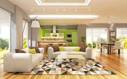 Modern interior of living room united with green kitchen in scandinavian style vector illustration