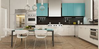 Modern interior of living room united with kitchen in scandinavian style. 3d rendering stock illustration