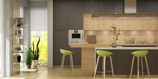 Modern interior of living room united with kitchen in scandinavian style. 3d rendering royalty free illustration
