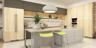 Modern interior of living room united with kitchen in scandinavian style. 3d rendering vector illustration