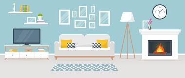 Interior of the living room. Vector banner. Modern interior of the living room. Vector banner. Design of a cozy room with sofa, TV stand, fireplace and decor Royalty Free Stock Photography