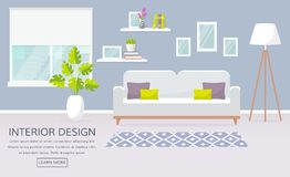 Interior of the living room. Vector banner. Stock Images