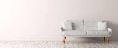 Modern interior of living room with white sofa 3d render Royalty Free Stock Photography